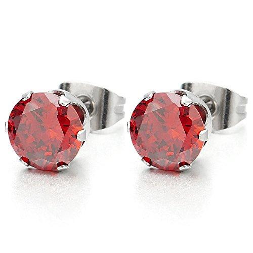 1 Paire 3-7MM Rouge Zircon Cubique - Clous d'oreille - Boucles d'oreilles Homme Femme - Acier Inoxydable