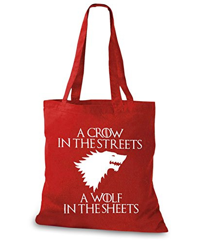 StyloBags Jutebeutel / Tasche A Crow in the Streets A wolf in the sheets Rot
