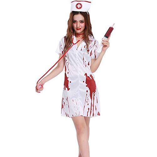 QWE Halloween Kostüm Horror Krankenschwester Kostüm COS Krankenschwester Kostüm für Erwachsene Leistungskostüm (Krankenschwester Adult Kostüm)