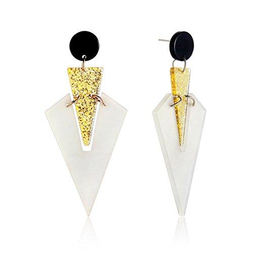 Schmuck Damen DAY.LIN Modefarbe-Zink-Legierungs-geometrischer Acrylcharme der Ohrring-Punk-Ohrring (A) (Dessous-kollektion)