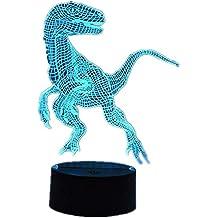 Jurassic 3D Estéreo Visión LED Dinosaurio Luz nocturna Táctil / Control remoto 16 Color USB Dormitorio