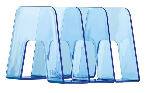 HAN SORTER Katalogsammler (Prospekthalter zum Austellen, mit 3 Fächern, für DIN A4/C4, 209 x 224 x 163 mm (B x T x H)) transparent/blau