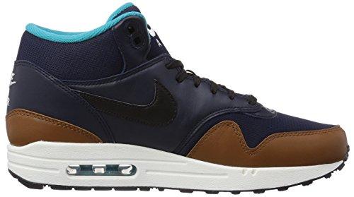 Nike Air Max 1 Mid FB Unisex-Erwachsene Hohe Sneakers Mehrfarbig (Obsidian/Black-Lt British Tan)