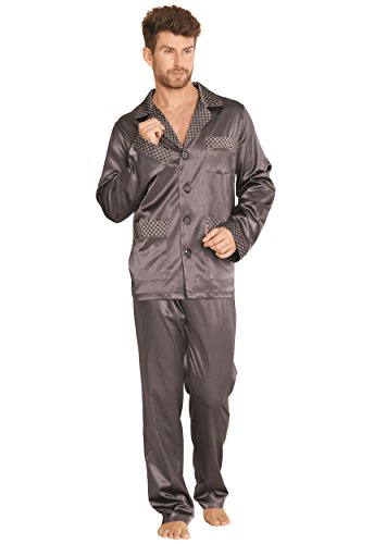FOREX Lingerie Edler und Hochwertiger Satin-Pyjama Herren-Schlafanzug Hausanzug (L, grau)