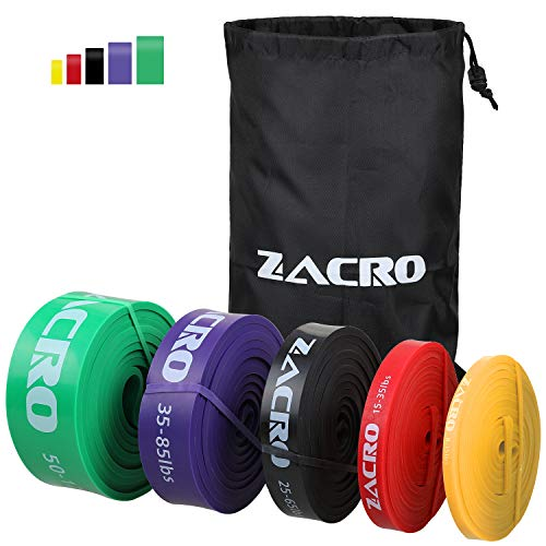Zacro 5pcs Bande Élastique Fitness Bande de Résistance pour Fitness, Yoga, Musculation Pilates Entrainement Crossfit et Motrice, Entrainement Corps, Jambes, Fessier