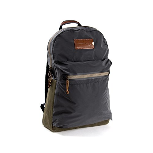 PROPERTY OF…® Archie Backpack | Stylischer Laptop-Rucksack aus Hightech-Material | reflektiert ohne die sonst übliche Silberfärbung | wasserdicht | mit individuell personalisierbarem Lederpatch | dunkelblau braun (Night/Brown) (Kollektion Notebook Essential)