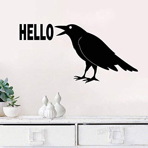 yiyiyaya Rabe Hallo Wandtattoo Vogel Aufkleber Krähe Tier Dekorationen Schild Home Wohnzimmer Schlafzimmer Abnehmbarer Eingangsbereich Dekor gelb 83X42 cm -