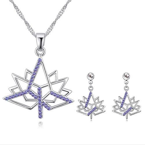youjiu Kristall Set Maple Leaf Anhänger Ohrringe Schmuck-Set Neu -