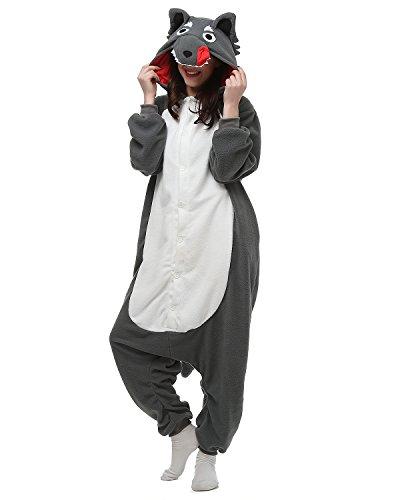 Tier Onesie Kostüme Kigurumi Grau Wolf Pyjama Schlafanzug Erwachsene Unisex Mann Dame Cosplay Jumpsuit Onesie M