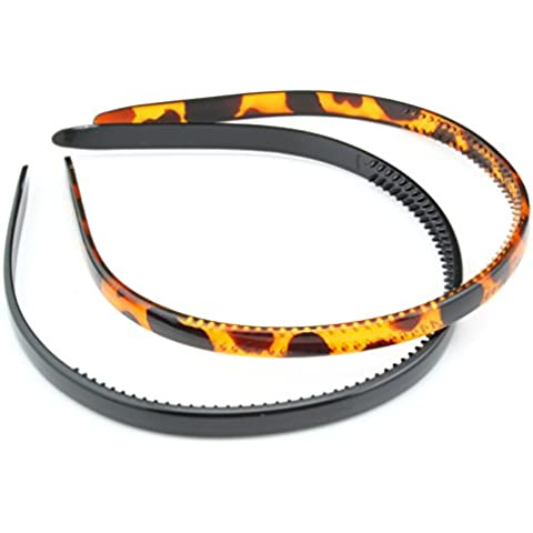 Zest Set of 2 8mm Alice Bands Hair Accessories Black and Tortoiseshell by Zest