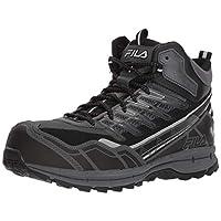 Fila Men's Hail Storm 3 Mid Composite Toe Trail Work Shoes Hiking, Castlerock/Black/Metallic Silver, 10 D US