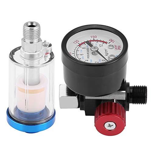 Fydun Pneumatische Spritzpistole Luftdruckregler Manometer Inline-Öl-Wasser-Filter-Abscheider-Kit