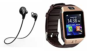 MIRZA Bluetooth Headset & Car Holder for HTC DESIRE 626(Jogger Headset   Sports Headset   Wire less Earphone  Bluetooth Headphone    Exercise Headset    Gym Headset   Bluetooth DZ09 Smart Watch Wrist Watch Phone with Camera & SIM Card Support Hot Fashion New Arrival Best Selling Premium Quality)