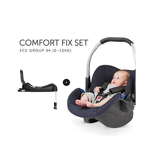Hauck Comfort Fix Set, Lightweight Group 0 Car Seat with Isofix Base, ECE 44/04 from Birth to 13 kg, Side Impact Protection, Safety Indicators, Travel System, Black Hauck NEW-BORN CAR SEAT - This comfy car seat with ergonomically shaped carry handle made of aluminium, breathable fabrics, head protection, seat minimizer, and sun hood is suitable from birth up to 13 kg SAFETY - The Comfort Fix car seat is approved to ECE 44/04. With its side-impact protection, tried and tested energy-absorbing foam in head and shoulder area, as well as 3-point harness, it has also received best crash test results by ADAC (2.1) TRAVEL SYSTEM - Combine the car seat with hauck pushchairs Rapid 3, Rapid 4, Rapid 4S, Rapid 4X, Atlantic, Maxan 3, Maxan 4 and their Trios, Duett 3, Rapid 3R Duo without adapters, and Vegas, Lift Up 4 as well as Duett 2 with adapters 4