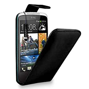HTC Desire 500 Black Leather Flip Case Cover Pouch + Mini Touch Stylus Pen + Screen Protector & Polishing Cloth