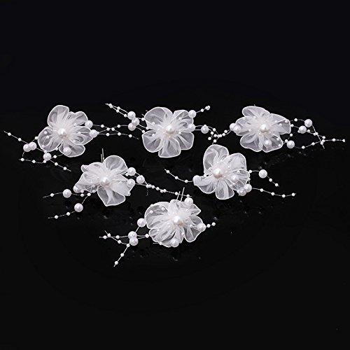 Veewon 6 x Perle Haarspangen Haarnadel Hochzeit Braut Schmuck Braut Haar Zubehör Mode Spitze Blume Stil (Schmuck Stil)