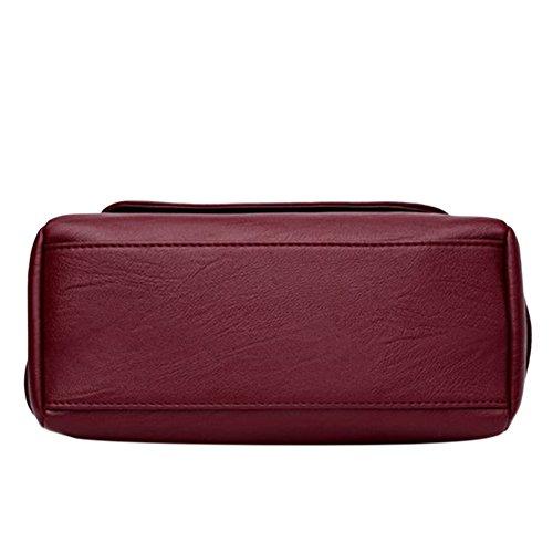 Schultertasche aus Leder PU Schultertasche Schultertasche aus Handtasche Casual Fashion für Damen schwarz Voilet