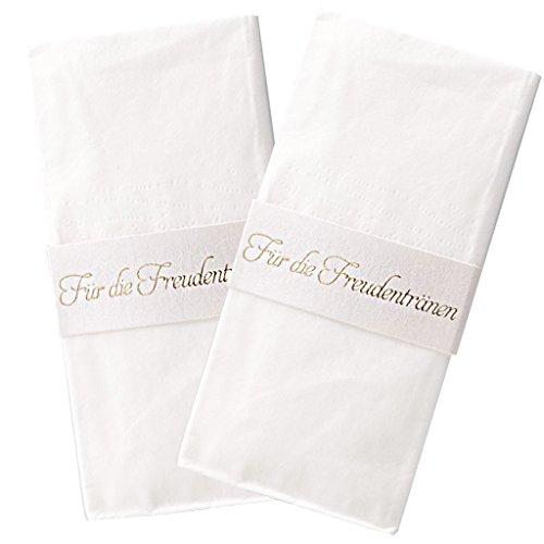 """Lywedd® Taschentuchhalter """"Lisbeth"""" 40 Stück - Taschentuchhalter mit Schriftprägung """"Für die Freudentränen"""" in Gold zur Hochzeit"""