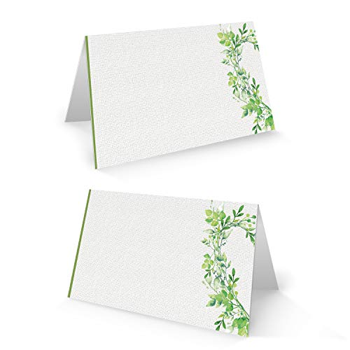 Logbuch-Verlag 25 Stück Namensschild Tischkarte weiß grün Hochzeit Geburtstag Kommunion Fest Platzkarte Sitzkarte Feier Tischdeko natürlich beschreibbar