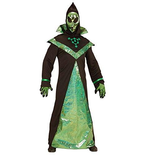 Widmann 03983 - Erwachsenenkostüm Alien, Robe mit Maske (Alien Verkleiden Ideen Für Kinder)