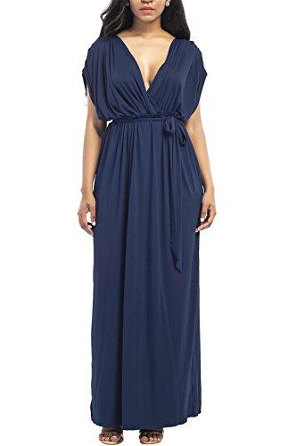 WIWIQS Frauen V-Ausschnitt Stretchy Casual Maxi Plus Size Brautjungfer Kleid, Dunkelblau, (Kostüm Indien Maria)