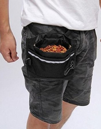 Dog Treat Pouch, Pet Training Waist Bag with Easy Open-Close Spring Hinge and Front Mesh Pocket, Easily Carries Snacks and Toys, Rapid Reward for Small Medium Large Breeds