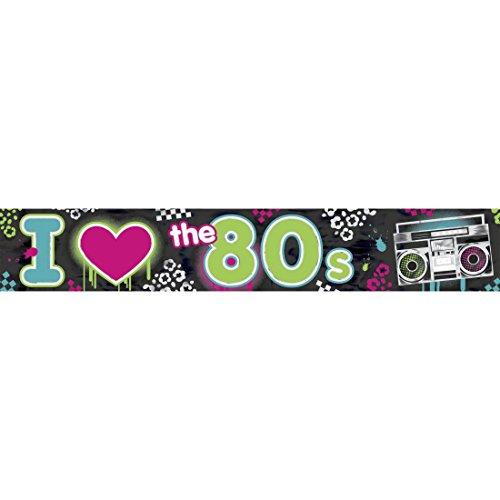 7,6 m 80`s Party Banner Deko Absperrband Mottoparty Dekoration 80er Jahre Flatterband Disco Partydeko