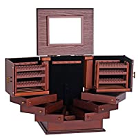 HFYAK Wooden Large Jewelry Box storage, Mirrored Jewellery Organiser 4 Drawers with Velvet Lining Gift for Women Girls Box