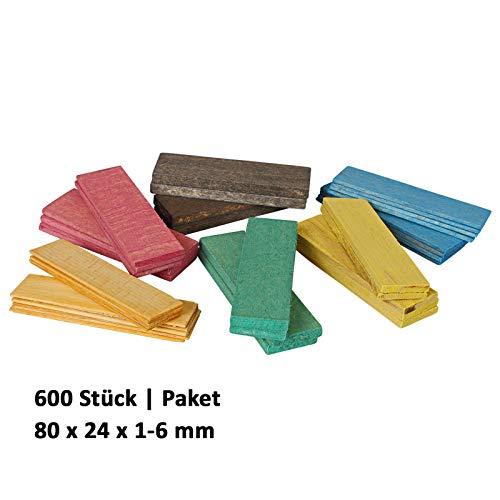 600 x Holz Verglasungsklötze Set Glasklötze Unterleger 80x24x 1, 2, 3, 4, 5, 6 mm Hartholz Buche Distanzklötze Trageklötze Abstandshalter