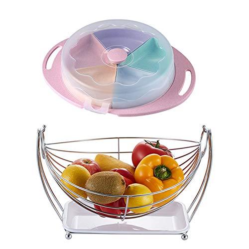 Assiettes À Fruits Corbeilles À Fruits Porte-fruits Sous-grille De Panier De Drain En Acier Inoxydable De Creative Living Room (Couleur : Pink)