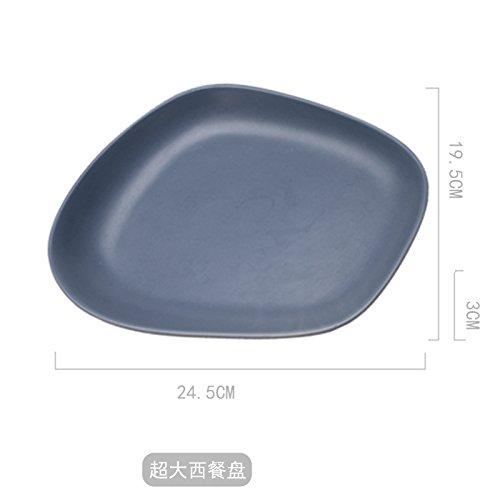 YUWANW Japanische Kreative Profilierte Stein-Förmige Keramik Teller Suppenteller Snack Plate Saucen Steak Teller Teller Teller Besteck Sushi, Blau (König) Westlichen Tastatur