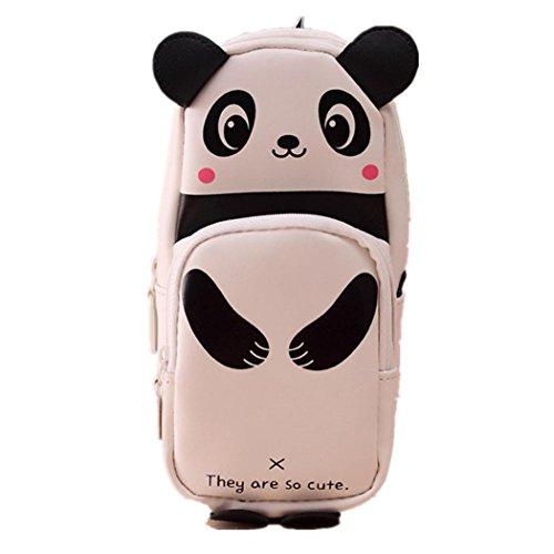 FORH Federmäppchen Bleistift Kasten Netter Kawaii 3D Panda Schüleretui Neuheit Schulbedarf Einzelteil für Kinder PU-Leder Federmäppchen Schule Federtasche (Weiß)