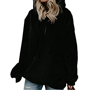 ZIYYOOHY Damen Casual Winter Kapuzenpullover Teddy-Fleece Langarm Oversize Sweatshirt Hoodie Einfarbig Warm (Größe:S- Bis -3XL)