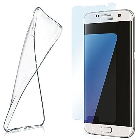 Silikon-Hülle für Samsung Galaxy S7 Edge + Panzerglas Set [360 Grad] Glas Schutz-Folie mit Back-Cover Transparent Handy-Hülle Samsung Galaxy S7 Edge Case Slim Schutzhülle Panzerfolie - Display gewölbt, Folie bewusst