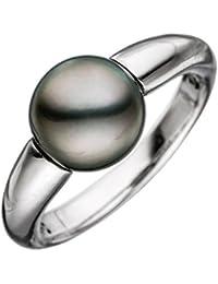 14 k ( 585 ) Damen Gold Ring mit Perle - Tahiti-Zuchtperle Ringweite: 54 - B 9,60 mm - T 9,60 mm
