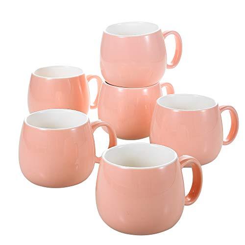Panbado, 6 teilig Porzellan Kaffeetassen Set, 375 ml Tassen, 5