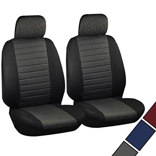 WOLTU 7231-2 Sitzbezüge für Auto Einzelsitzbezug vordere Schonbezüge Sitzbezug Schoner, 2er Set, schwarz/grau