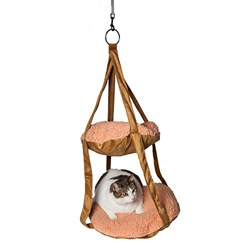 Pet Life kittyhaus Dual Liege Kitty Katze Kissen Hängematte Lounge,, Einheitsgröße, Braun