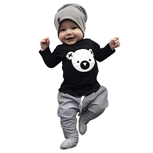 Babykleidung Shopaholic0709 Baby Long Sleeve Cartoon Koala Print Top T-Shirt + Gestreifte Hosen...