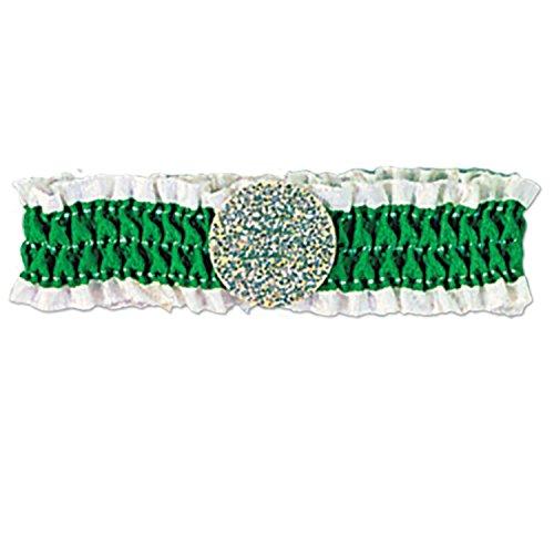 Irische Motto Kostüm - Grün-weißes, Irisches Armband für St. Patrick's Day. 12er Set.