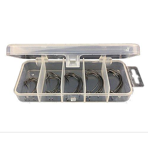 gossipboy 26PCS/1SET Starke Offset Haken Set Box High Carbon Stahl Sport Kreis Angeln Haken Kit für Salzwasser und Süßwasser Angeln, Größe 1–3/0#