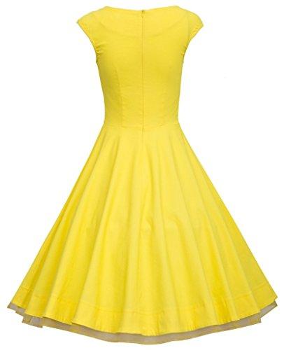Eudolah Robe Vintage Uni décolletée en coeur sans manche style années 50 Rockabilly Swing Femme Jaune