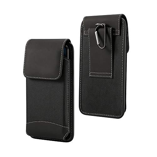 DFV mobile - Custodia Cintura Verticale Nuovo Design in Pelle e Nylon per = ALCATEL One Touch Scribe HD, OT 8008D  Nero