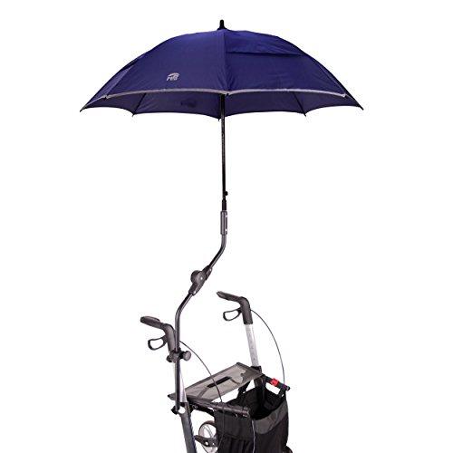 Orig. MPB® Rollatorschirm Umbrella MONO Modell 2, Rollator Schirm blau reflektierend, mit Schirmhülle, einfache Handhabung, Made in Germany!