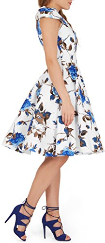 BlackButterfly 'Enya' Vintage Mercy Pin-up-Kleid Weiß Blau