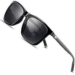 FEIDU polarisiertes Fahren der Sonnenbrillemänner der Frauen 100% UV400 Schutz für Golf, Fahren, Sport im Freien, Fischen (Schwarz/Gun, 50)