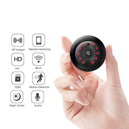 YHYA Mini WiFi Wireless HD Indoor Home kleine Spy Cam Überwachungskameras/Nanny Cam mit Bewegungserkennung/Nachtsicht für iPhone/Android Phone/iPad/PC