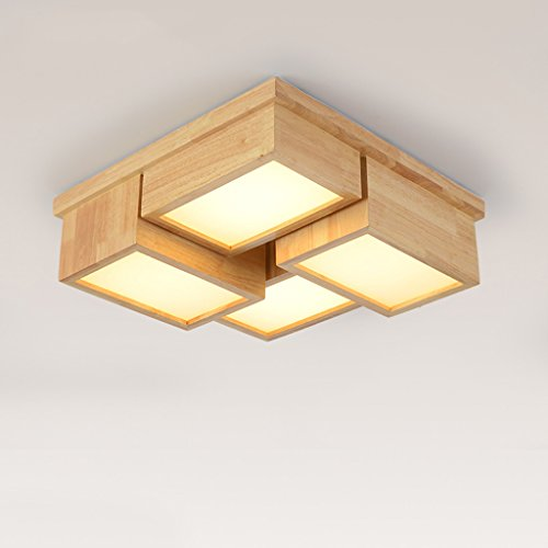 Plafonnier plafonnier en bois, lambris en bois massif, éclairage de salon ( Couleur : Chaud-50 cm*15 cm )