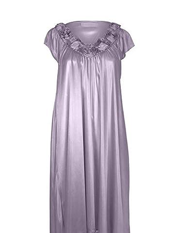 EZI Women's Satin Silk Roses Nightgown,Lavender,XXL