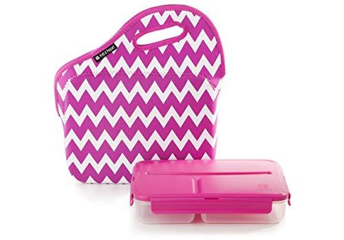 Pret a Paquet Boite à Repas hermétique Alimentaire - Lunch Box avec 3 Compartiments et Un Sac isothèrme - Idéal pour Les Enfant ou pour Le Travail - Adapté au Micro-Onde, Lave-Vaisselle, Congélateur